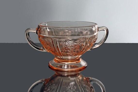 Sugar Bowl, Federal Glass, Sharon Pink, Depression Glass, Rose Pattern