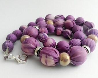 Purple silk necklace,Handmade silk necklace,Unique silk necklace,Ceramic beads necklace,Hand painted silk necklace,Textile necklace