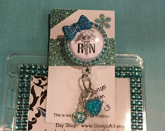 RN Badge Reel, teal rhinestone, bling lanyard, name tag Badges Holders,Unique Id  name tags bling bow, key access card, security hospital