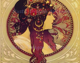 "Alphonse Mucha ""Donna Orechini"" 1920's Art Nouveau Reproduction Digital Print  Wall Decor Wall Art"