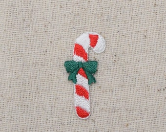 Christmas - Candy Cane - Green Bow - Iron on Applique - Embroidered Patch - 20685A