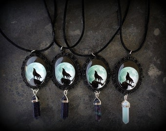 Wolf Moon - Lonely wolf cameo necklace. Glass cabochon. Wolf howling. Gemstones. Blue Goldstone, Fluorite, Opalite. ONE OF EACH available.