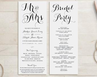 Wedding Program Template Wedding Order of Service | Byron | Wedding Service | Printable wedding | Any colour | Custom Wedding