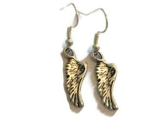 Angel Wing Charm Earrings - Angel Wing Earrings - Wing Earrings - Wing Charm Earrings - Silver Wing Earrings - Silver Jewelry