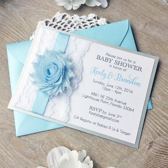 BRANDON - Baby Blue Baby Shower Invitation for Baby Boy- White Lace Baby Shower Invite - Chiffon Flower Invitation