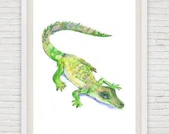 Baby Alligator Art Watercolor Painting Boy Nursery Decor Crocodile Print, Alligator Wall art, safari , Gift ideas Animal Prints Watercolour
