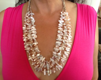 Pale Pink Biwa Pearl Necklace