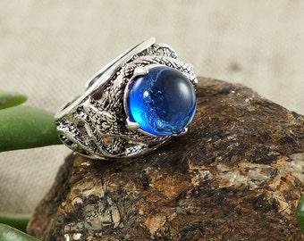 Ring Snakes, azure blue glass (#6360)