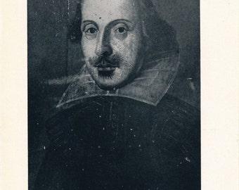 1940 William Shakespeare Portrait Vintage Print