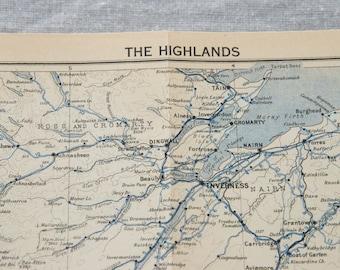 1950 Highlands Scotland Antique map