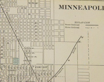 1901 Minneapolis Minnesota & Milwaukee Wisconsin Antique Maps (Double-sided Page)