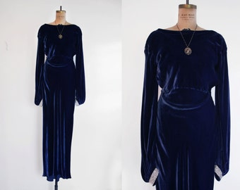 1930s Silk Velvet Dress / 30s Velvet Gown / Blue Silk Velvet Dress