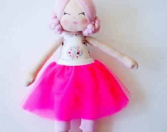 Fabric doll ballerina doll cloth doll rag doll handmade doll pink hair pink skirt daughter gift girl gift