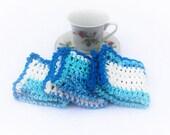 Crochet Washcloth,Crochet Dishcloth, Blue White Cotton Dishcloth, Cotton Crochet Washcloth,Baby Washcloth,Cotton Washcloth,Housewarming Gift