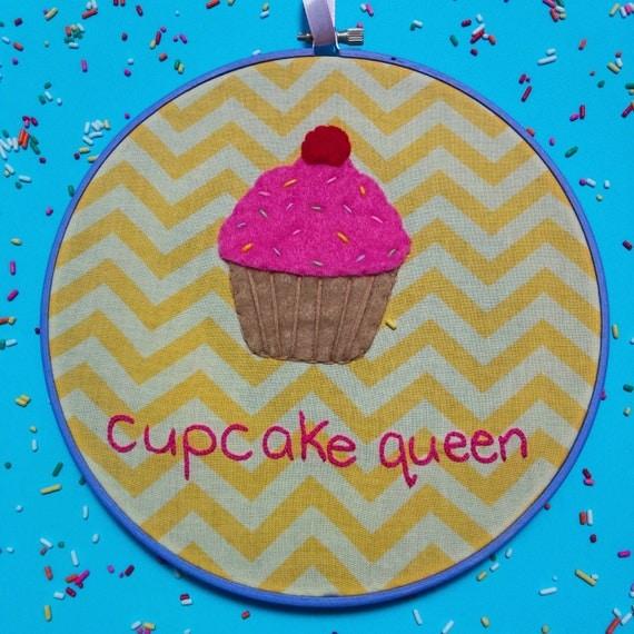 Cupcake queen embroidery hoop art by westcoastcreator on etsy