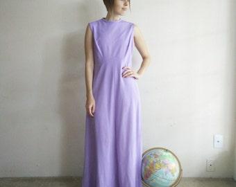 Vintage 1970s Lilac Maxi Dress/70s Dress/Medium