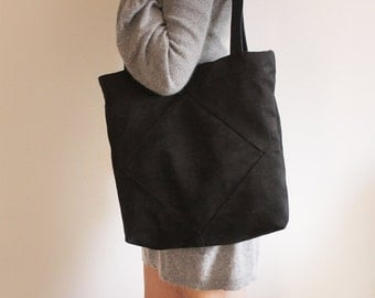 Black tote bag - Women tote /  Black tote with zipper - vegan tote / Black Vegan bag.