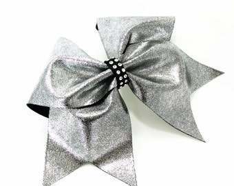 Cheer bow, Silver on black cheer bow, cheerleading bow, cheerleader bow, cheer bows, softball bow, cheerbows, dance bow, hair bow, large bow