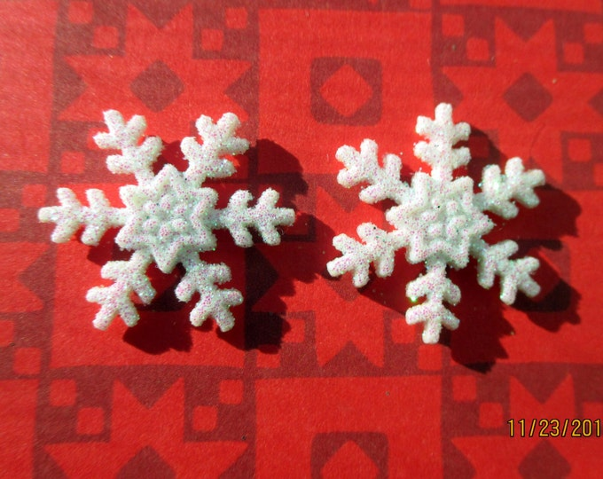 Winter earrings-snowflake earrings-white Snowflake studs-clip on earrings-snow posts-glittery snowflake jewelry-frozen party favors.