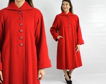 Princess Coat 40s Red Swing Coat   Red Cashmere Coat   Princess Coat