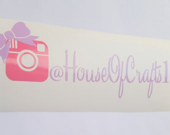 Advertise Your Business Instagram Bow Custom Name Personalized Vinyl Decal Sticker