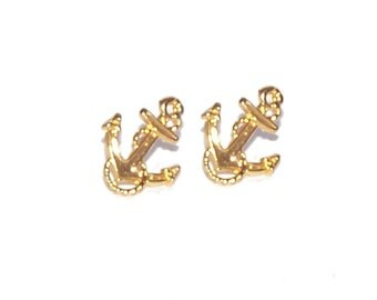 Gold Earrings - Anchor Earrings / Boat Anchor / Sailing / Nautical / Boating / New Old Stock