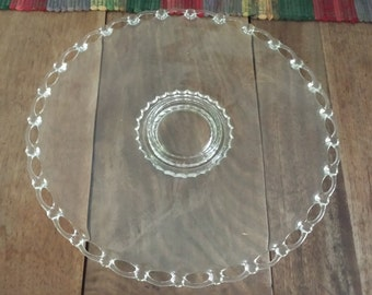 Vintage Lace Edge Clear Glass Torte/Cake Plate, Elegant Serving Platter 1960s D4C475