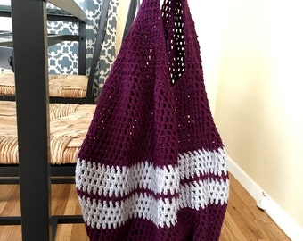 Reusable Bag, Market Tote, Market Bag, Reusable Tote, Reusable Grocery Bag, Purple Tote, Purple Bag, Beach Bag, Crochet Bag, Crochet Tote