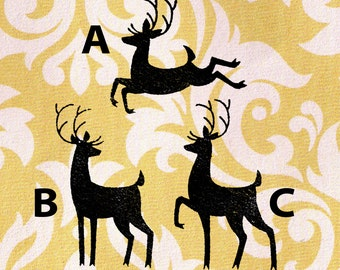Reindeer Stamps Selection: Wood Mounted Christmas Rubber Stamps