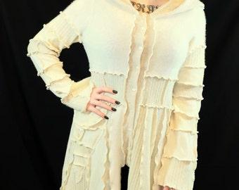 SPRING SALE Ivory Pixie--Upcycled Sweater Coat,100% Cashmere, Size Small/medium