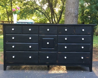 SOLD - Black Nine Drawer Low Dresser / Buffet / Sideboard / Distressed / Black and White / farmhouse / rustic / shabbychic
