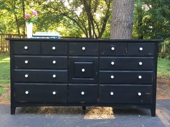 Black Nine Drawer Low Dresser