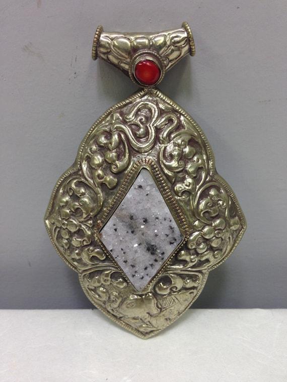 Pendant Silver Druzy Quartz Coral Silver Pendant Handmade Tibet Druzy Quartz Red Pendant Necklace Tibet Unique  Statement