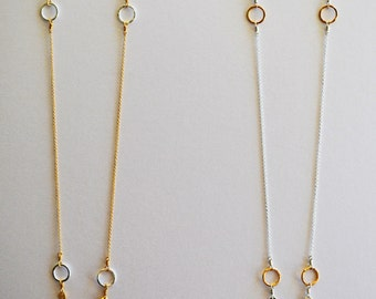 Two Tone Alternating Chain Necklace- Great for layering! Simple and elegant. 30 inches long