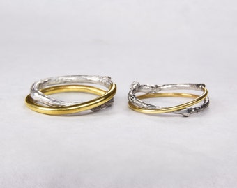 Nature inspired wedding ring - Wedding ring set - Gold & silver - Twig ring