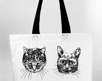 Cats - hand screen printed cotton canvas tote bag