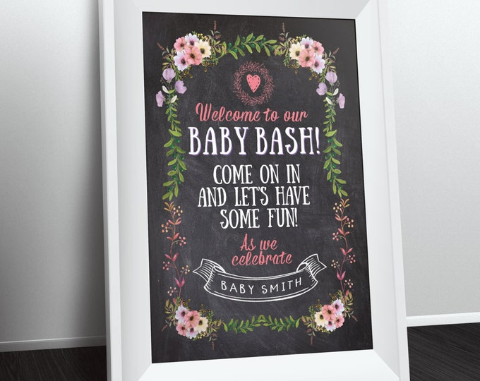 Welcome sign, Floral, rustic, BOHO, BabyQ chalkboard couples co-ed Baby Shower BBQ - babyQ  baby is brewing, (Printable File Only)