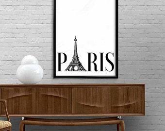 Paris- Typography Wall Art Prints, Instant download, Digital Art prints, Black and white prints, Printable wall decor