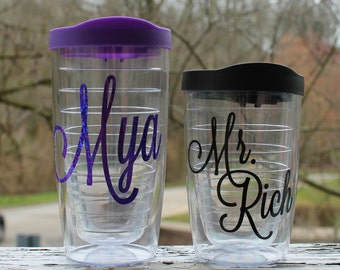 Customized Tervis Style 12 oz, 16 oz, 24 oz Tumbler Cup With Name
