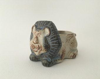 Vintage Mid Century Japanese Stoneware Cute Lion Candle Holder