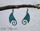 Earrings turquoise patina copper, turquoise patina, celtic inspiration, trisquel, copper, celtic jewelry, gift women folk, celtic women