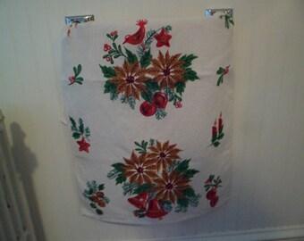 Vintage Christmas Linen Kitchen Dish Tea Towel~Lovely Gold Poinsettias Bells Red Bird!