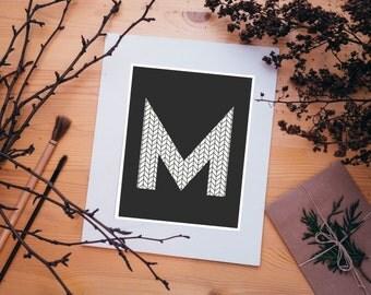 Letter M Art, M Monogram Print, Gift for, Baby Shower, Wedding Gift, M Names, Modern Art, Dorm Decor, Cubicle Art