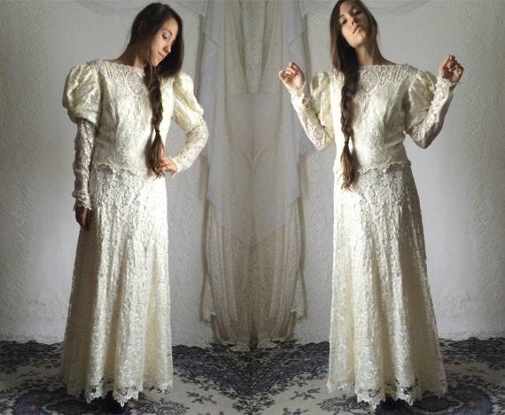 80s Cream Lace Wedding Dress // Vintage Puffy Long Sleeve