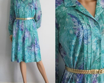 Floral shirt dress, green turquoise purple patterned, french retro vintage, knee length, collared, button through, large