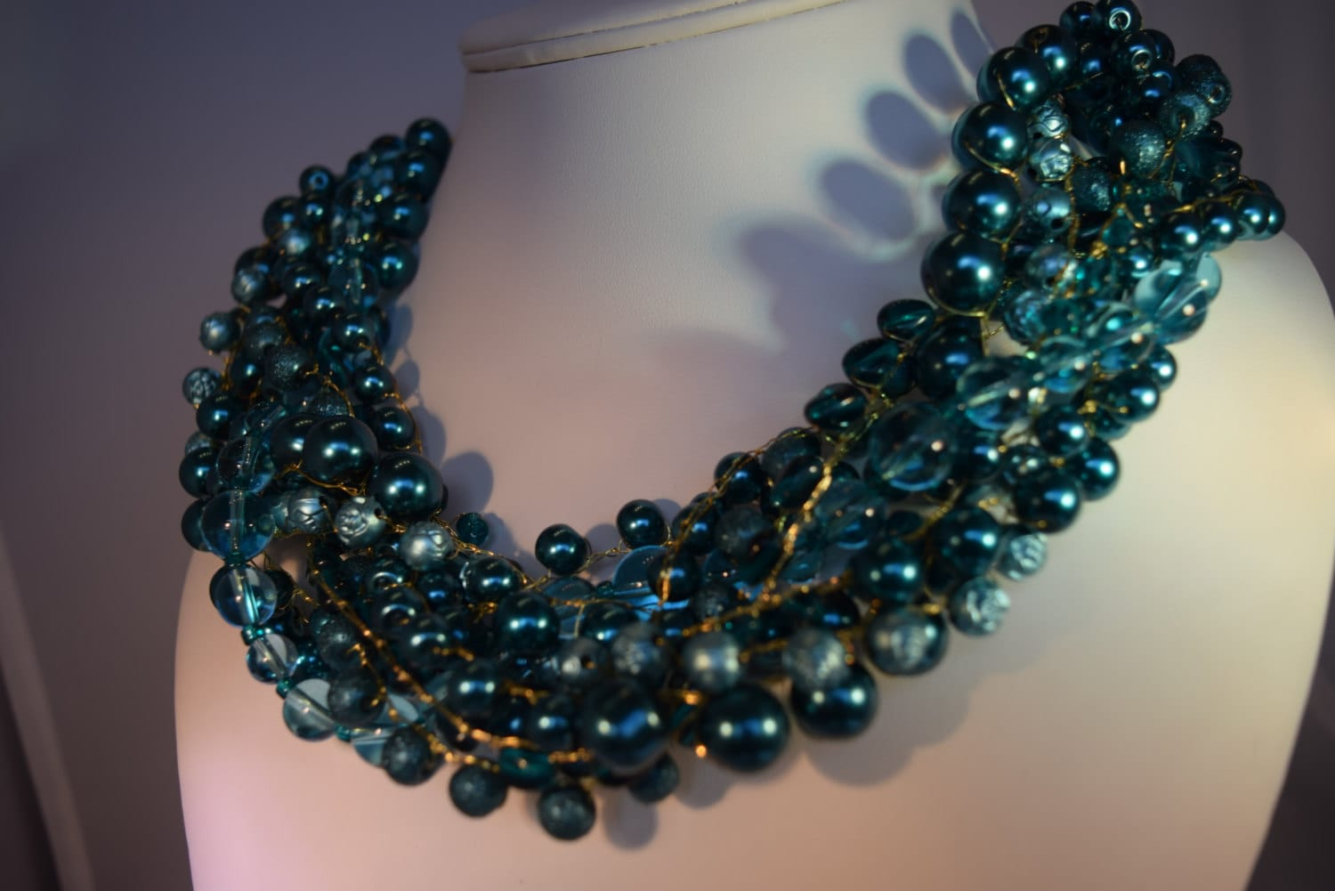 Teal Green Blue Wire Crocheted Beaded Necklace Braided Gold Tone ...