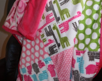Pink Urban Zoologie Cuddle  Baby/Toddler/Lap Blanket