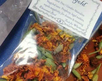 Dried Marigold,  for magick , Wicca, Greenwitch, Witchcraft, Hedge Witch, for magickal intent Herbs for Magic