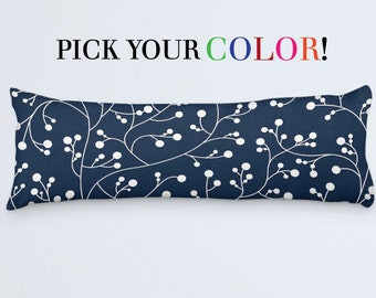 Floral Body Pillow Navy Bed Pillow 20x54 Pillow Cover Long Body Cushion