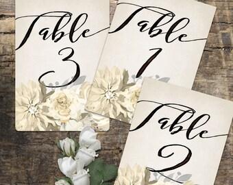 Wedding Table Numbers 1-20, Printable Table Numbers, rustic table number, boho table numbers, Wedding Printable, Wedding Signage,